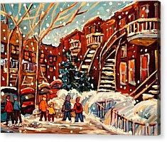 Montreal Street In Winter Acrylic Print by Carole Spandau