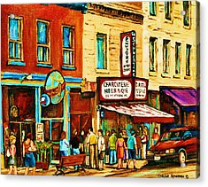 Montreal Streetscene Artist Carole Spandau Paints Schwartzs Main Street Hustle Bustle Acrylic Print by Carole Spandau