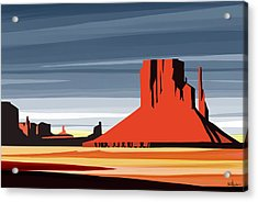 Monument Valley Sunset Digital Realism Acrylic Print by Sassan Filsoof
