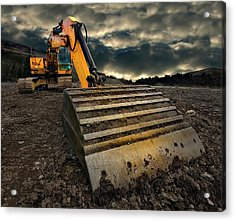 Moody Excavator Acrylic Print by Meirion Matthias