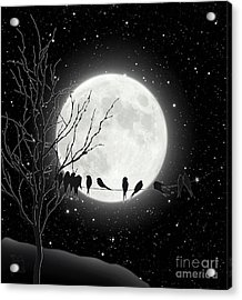 Moon Bath, Birds On A Wire Gather By A Harvest Moon Acrylic Print by Tina Lavoie