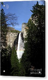 Moon Over Bridalveil Fall At Yosemite Acrylic Print by Wingsdomain Art and Photography