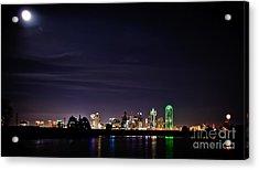 Moon Over Dallas Acrylic Print by Charles Dobbs