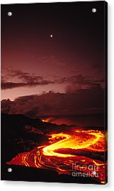 Moon Over Lava At Dawn Acrylic Print by Peter French - Printscapes