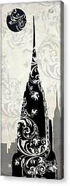 Moon Over New York Acrylic Print by Mindy Sommers