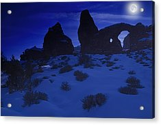 Moon Over Turret Arch Acrylic Print by Utah Images