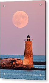 Moon Over Whaleback Acrylic Print by Eric Gendron