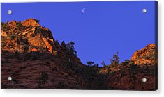 Moon Over Zion Acrylic Print by Chad Dutson