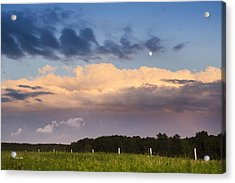 Moon Rise Over Country Fields Sunset Landscape Acrylic Print by Christina Rollo
