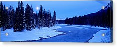 Moon Rising Above The Forest, Banff Acrylic Print by Panoramic Images