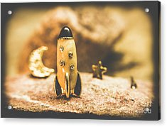 Moon Rocket At Space Station On The Dark Side Acrylic Print by Jorgo Photography - Wall Art Gallery