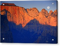Moon Sets Over Zion National Park Acrylic Print by Raymond Salani III