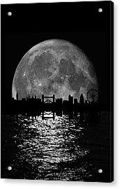 Moonlight London Skyline Acrylic Print by Mark Rogan