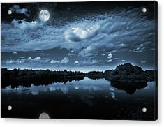 Moonlight Over A Lake Acrylic Print by Jaroslaw Grudzinski