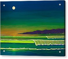 Moonlight Over Venice Beach Acrylic Print by Frank Strasser