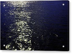 Moonlight Sparkles On The Sea Acrylic Print by Linda Woods