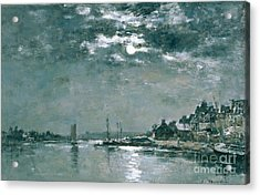 Moonlit Seascape Acrylic Print by Eugene Louis Boudin