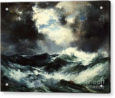 Moonlit Shipwreck At Sea Acrylic Print by Thomas Moran