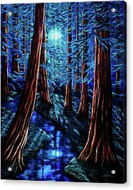 Moonrise Over The Los Altos Redwood Grove Acrylic Print by Laura Iverson