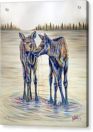 Moose Gathering, 2 Piece Diptych- Piece 2- Right Panel Acrylic Print by Teshia Art