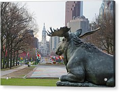 Moose On The Parkway - Philadelphia Acrylic Print by Bill Cannon