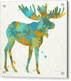 Moose Watercolor Art Acrylic Print by Christina Rollo