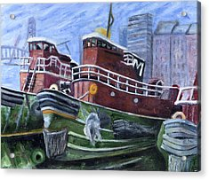 Moran Tugboats. Portsmouth New Hampshire Acrylic Print by Maurice Pelissier
