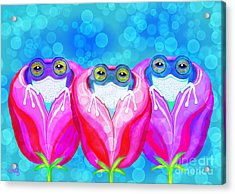More Rose City Rain Frogs Acrylic Print by Nick Gustafson