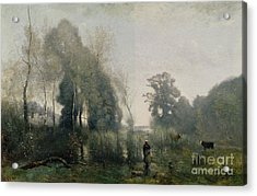 Morning At Ville Davray Acrylic Print by Jean Baptiste Camille Corot
