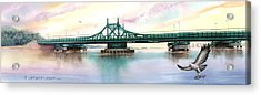 Morning Mist City Island Bridge Acrylic Print by Marguerite Chadwick-Juner