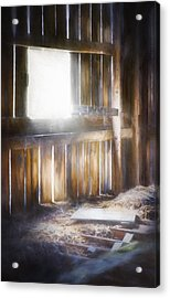 Morning Sun In The Barn Acrylic Print by Scott Norris