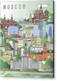 Moscow City Poster Acrylic Print by Pablo Romero