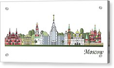 Moscow Skyline Colored Acrylic Print by Pablo Romero