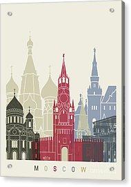 Moscow Skyline Poster Acrylic Print by Pablo Romero