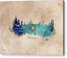 Moscow Skyline Wind Rose Acrylic Print by Justyna JBJart