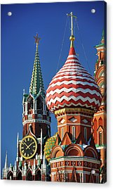 Moscow, Spasskaya Tower And St. Basil Cathedral Acrylic Print by Vladimir Zakharov