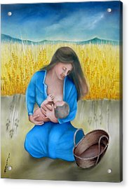 Mother And Child Acrylic Print by Miriam Besa