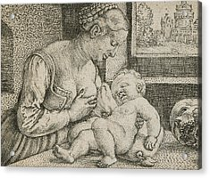 Mother And Child With Skull And Hourglass Acrylic Print by Barthel Beham