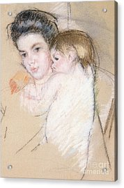 Mother And Nude Child Acrylic Print by Mary Stevenson Cassatt