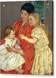 Mother And Sarah With The Baby Acrylic Print by Mary Stevenson Cassatt