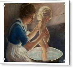 Mother Love-the Bath Acrylic Print by Pamela Mccabe