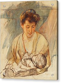 Mother Rose Looking Down At Her Sleeping Baby Acrylic Print by Mary Stevenson Cassatt