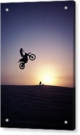 Motorcyclist In Mid-air Jump Acrylic Print by James Porto