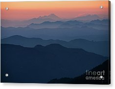 Mount Baker Sunset Landscape Layers Closer Acrylic Print by Mike Reid