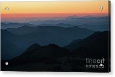 Mount Baker Sunset Landscape Layers Acrylic Print by Mike Reid