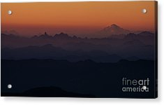 Mount Pilchuck Sunset Layers Acrylic Print by Mike Reid