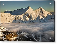 Mount Pollux And Mount Castor At Dawn Acrylic Print by Colin Monteath