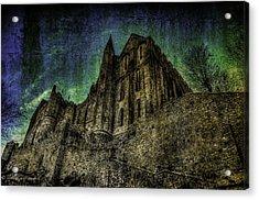 Mount St Michael Unreal Acrylic Print by Karo Evans