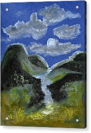 Mountain Spring In The Moonlight Acrylic Print by Donna Blackhall