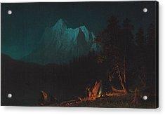 Mountainous Landscape By Moonlight Acrylic Print by Albert Bierstadt